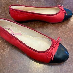 Marc Fisher Jodi red cap toe leather ballet flats